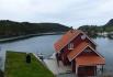 toller Blick über Naustbekken Brygge in Westnorwegen