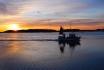 Sonnenuntergang und Fischerboot