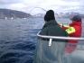 Angler kämpft mit großem Fisch