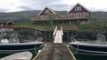 Vevelstad Rorbu: Ferienhäuser vom Bootssteg aus