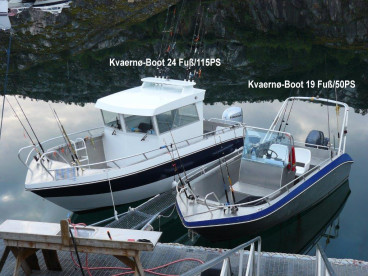 neben Kvœrnø-Angelbooten kann auch ein Kabinenboot geliehen werden