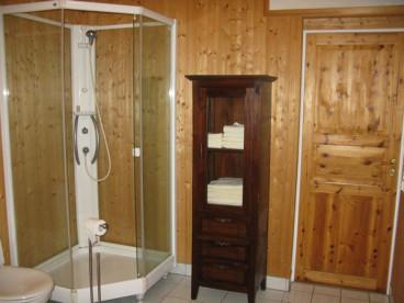 Dusche und WC im geräumigen Bad