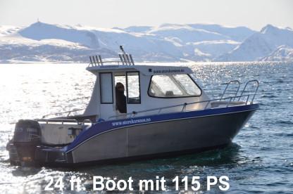 besser geht es kaum: großen Kabinenboot für Norwegenangler in Storekorsnes