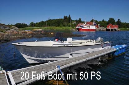mit 50 PS in Richtung Angelplätze in Eidshaug Gård