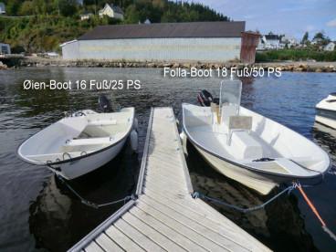 zwei verschiedene GFK Angelboote in Ekker