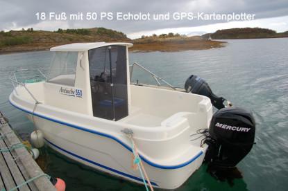 mit 50 PS in Richtung Angelspots vor Hestøysundet