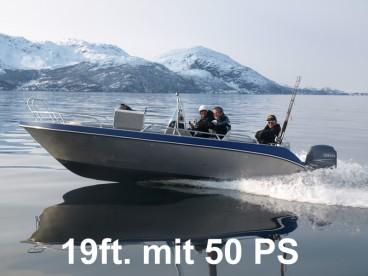 Angelboot mit 19 Fuß mit 50 PS