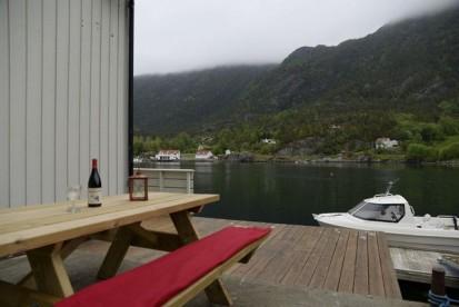 direkt am Bootssteg mit Fjordblick
