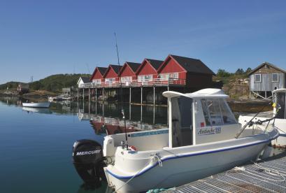 Blick auf die Ferienhäuser in Hestøysund