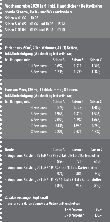 Preisliste Vannøya Havfiske