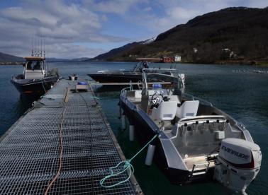 rechts das 19,5 Fuss Kaasbøll Boot